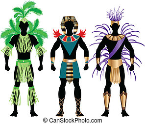 Male Carnival Costumes - Vector Illustration of three male ...