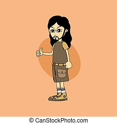 male cartoon character thumb up gesture
