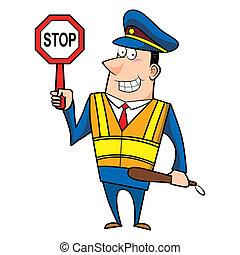 male cartoon police officer holding a stop sign