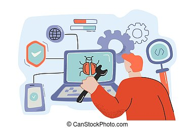Male cartoon programmer working on bug detection at computer software vector flat illustration in doodle style. Man holding wrench finding virus at modern electronic device isolated on white