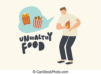 Male Character Abdominal Ache, Heartburn or Spasm Cause Unhealthy Eating. Sad Sick Man Feel Pain in Stomach