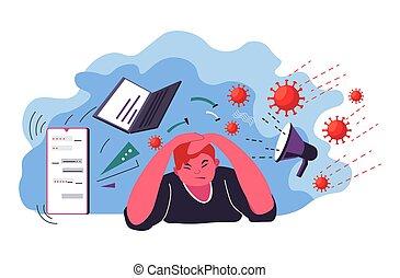 Male character bombarded by coronavirus outbreak global ...