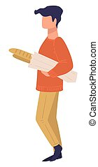 Male character carrying French baguette, shopping man vector...
