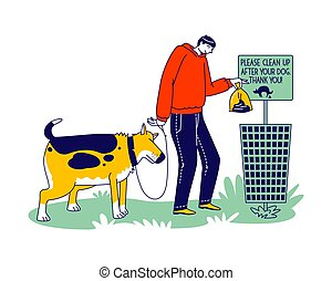 Male Character Cleanup after Dog Remove Shit from Ground in Park or House Yard Throw Out Plastic Bag with Crap into Litter Bin with Restriction Banner. Care of Environment. Linear Vector Illustration