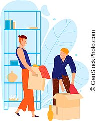 Male character help friend to house moving, man carry box personal stuff isolated on white, cartoon vector illustration. Assistance relocate personal belongings, together move carton.