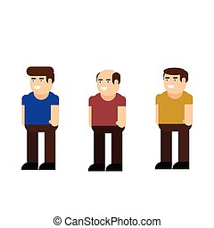 Male character icon set