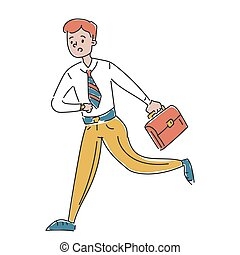 Male character in a hurry vector isolated.