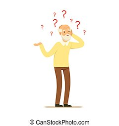 Male Character Old Alzheimers Colourful vector Toon Cute ...