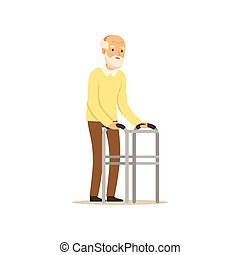 Male Character Old Frail Weak Using Walking Support...