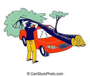 Male Character Stand at Broken Car with Fallen Tree Got into...