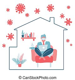 Male character stay at home working to avoid corona virus danger. Self quarantine. A man works on a laptop while sitting in a chair. COVID-19 outside silhouette of house. Flat vector concept