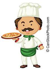 Male chef and italian pizza