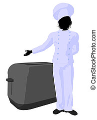 Male Chef Art Illustration Silhouette - Male chef with a...