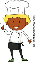 Male chef having thumb up