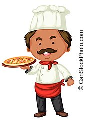 Male chef making pizza