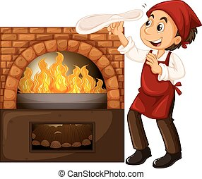 Male chef making pizza with stone oven