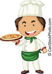 Male chef serving pizza