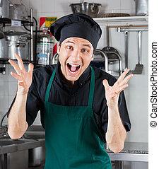 Male Chef Shouting In Restaurant Kitchen