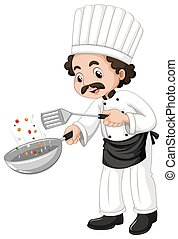 Male chef using frying pan
