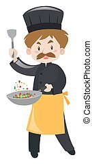 Male chef with spatula and pan