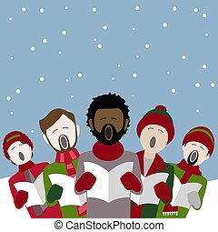 group of male singers singing Christmas carols in the snow
