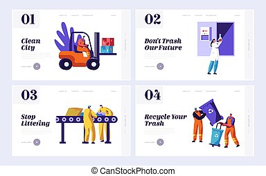 Male Clean Trash to Reduce Littering Set Landing Page. Man Picking Dustbin with Recycling Sign. People Collect Rubbish from Conveyor. Recycle Website or Web Page. Flat Cartoon Vector Illustration