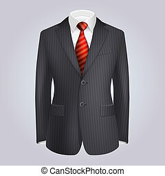 Male Clothing Dark Striped Suit with Red Tie. Illustration