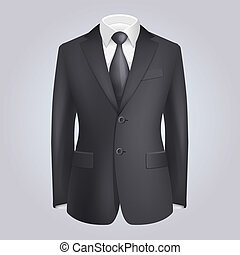 Male Clothing Dark Suit with Tie. Vector Illustration