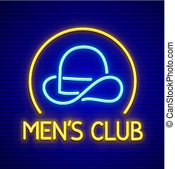 Male club for gentlemen. Neon sign. Vector - Male club for...