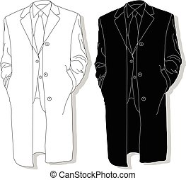 Male coat set. illustration. - Male coat set. Fashion set...