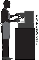 Male Coffee Barista Silhouette Making Espresso and Steaming Milk with Espresso Machine Illustration