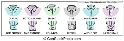 Male collars and cuffs of classic shirts collection. Mens...