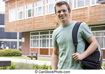 Male college student on campus