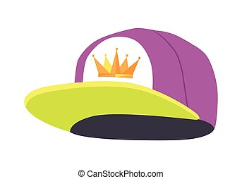 Male Colourful Rap Cap. Isolated Illustration