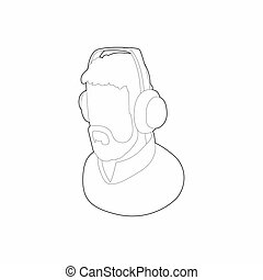 Male commentator in headphones icon, outline style