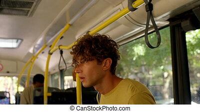 Male commuter boarding bus 4k - Young male commuter boarding...