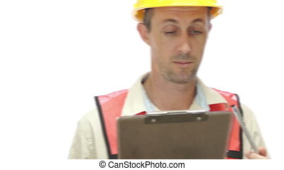Male Construction Inspector Smiling - Fast pan in of a male...