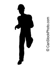 Male Construction Worker Illustration Silhouette - Male...