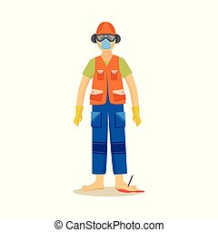 Male construction worker standing with industrial nail in ...