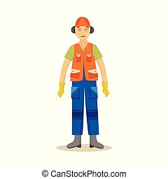 Male construction worker stands with redness and lacrimation...