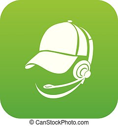 Male consultant in headphones icon green vector