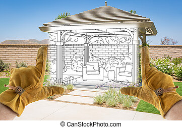 Male Contractor Hands Framing Completed Section of Custom Pergola Patio Cover Design Drawing
