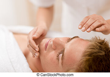 Male cosmetics - facial massage treatment