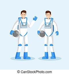 Male cosmonauts flat vector illustration. Smiling astronauts team, two men in spacesuits waving hand and holding helmets cartoon characters. Space mission, universe exploration isolated