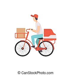 Male courier riding bicycle with cardboard boxes, fast shipping concept vector Illustration on a white background