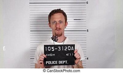 Male Criminal Mugshot - Police mug shots of a male criminal...