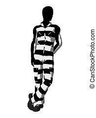 Male Criminal Silhouette Illustration - Male criminal on a...