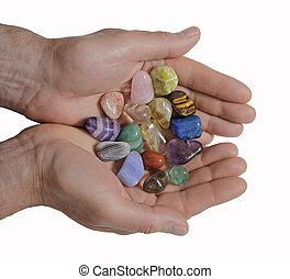 Male Crystal healer holding crystal - Male crystal therapist...