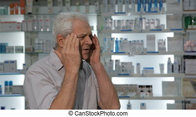 Male customer comes to the drugstore with headache