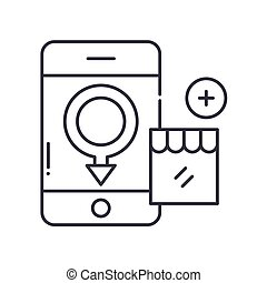 Male customer icon, linear isolated illustration, thin line vector, web design sign, outline concept symbol with editable stroke on white background.